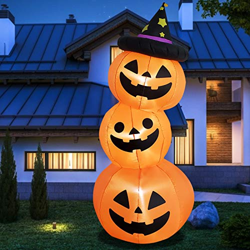 Poptrend Halloween Inflatable 6Feet 3Pumpkin Stack Halloween Decorations Outdoor, LED Lights Outdoor Indoor Holiday Decorations Blow up Yard Lawn Inflatables Home Family Outside Decoration