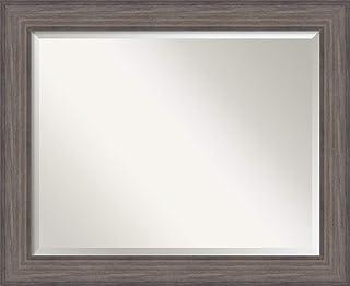 Amanti Art Framed Vanity Mirror | Bathroom Mirrors for Wall | Country Barnwood Mirror Frame | Solid Wood Mirror | Medium Mirror | 27.25 x 33.25 in.
