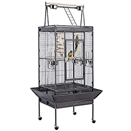 Yaheetech Large Metal Parrot Cage Bird Cage for Budgie Canary Aviary Cockatiel with Playtop Perch Stand and Wheels Black