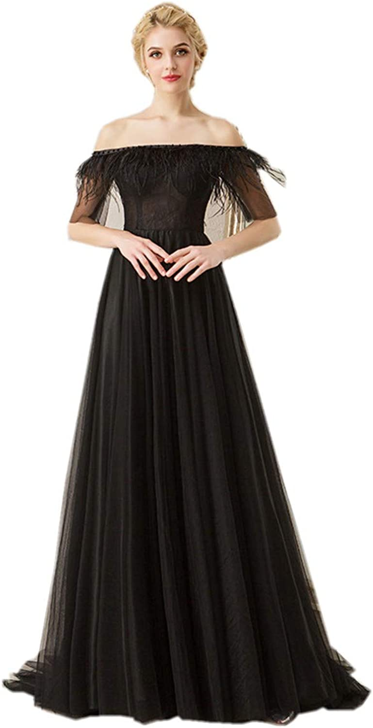 Darcy74Dulles Women's Black Aline Tulle Prom Gowns Lace Evening Feather Dresses Plus Size