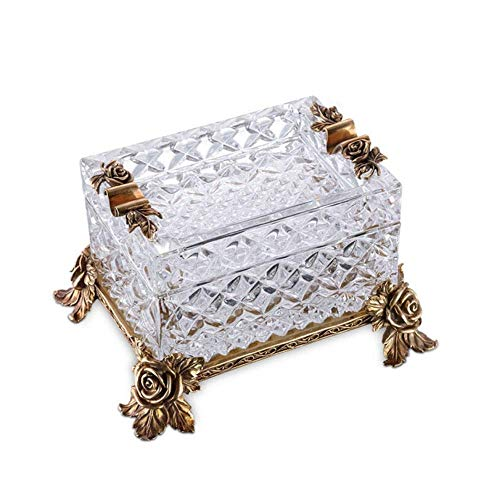 CHOUCHOU Ashtray, Cigar Ashtray, European Austrian Crystal Copper Large Diameter Smoke Trough, Creative Personality Living Room Decoration, Best Gift Ideal for Home, Office use, Welcome to Buy 烟灰缸