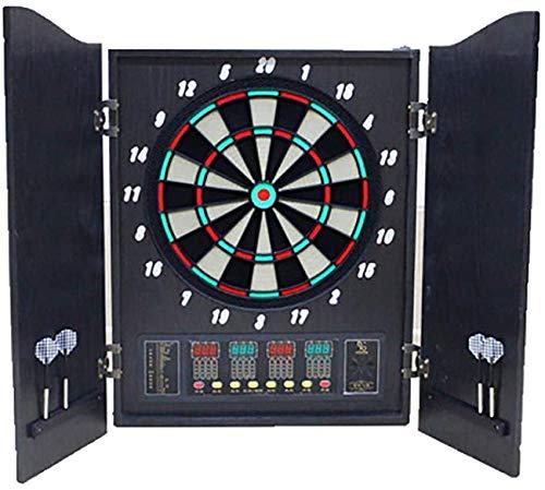 Sooiy Darts elektrisches Darts Professional internes Ziel Targa 15-Zoll-Standard-4-LED-Anzeige mit hohen Helligkeit Automatisches Tor 27 Hauptspiele mit Doppelholztür Dartboards,Schwarz