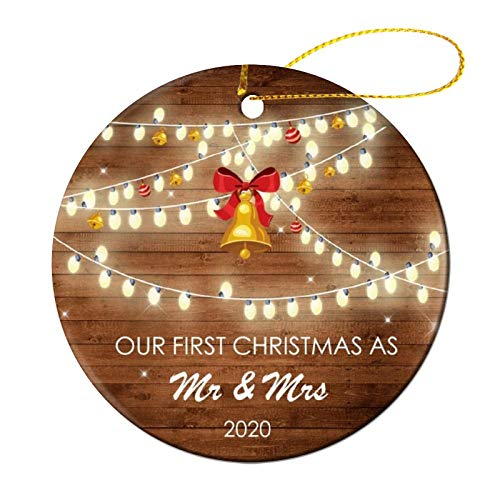 Tbrand Christmas Tree Ornament 2020 Our First Christmas As Mr & Mrs Ornament Keepsake Ornament Holiday Wedding Groom Bride Couple Lover's Gift - 3 INCH Round Flat Wood Ornament Double-Sided Printed