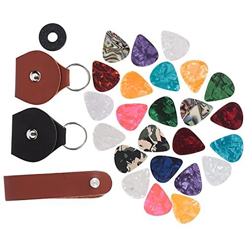 28 Piezas de Púas de Guitarra de Varios Colores Varios Espesores Púas de Guitarra Fundas Para Púas de Guitarra Portátiles Cuero Pu Correa Para El Cuello de Guitarra