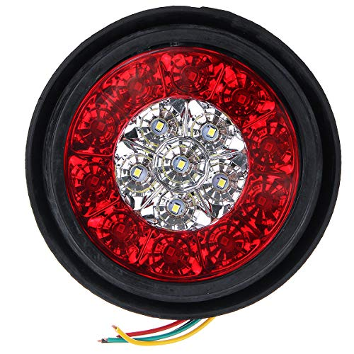 YONGYAO 4PCS 24V 16Leds Coche Luces de Señal de Giro Lámparas de Cola de Parada de Freno Impermeable Redondas para Camión Camión Remolque