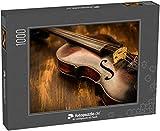 Puzzle 1000 Teile Geige im Vintage-Stil auf Holzuntergrund - Klassische Puzzle, 1000 / 200 / 2000 Teile, edle Motiv-Schachtel, Fotopuzzle-Kollektion 'Musik'