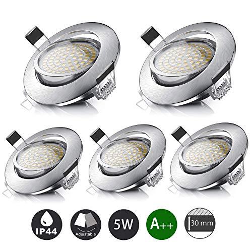 LED Einbaustrahler Schwenkbar IP44 Ultra Flach 5er Set 5W LED Modul 230V 3000K Warmweiß Einbauleuchten für Bad, Wohnzimmer, Schlafzimmer, Küche, Büro