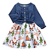 Enlifety Long Sleeve Denim Dress for Toddler Girls 3-4 Years Santa Claus Snow Flower Print One Piece Outfits Merry