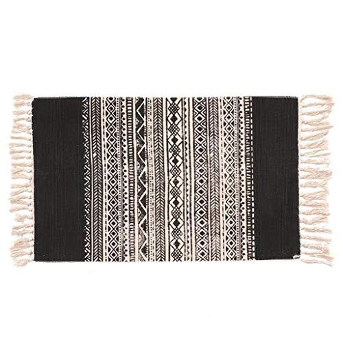 Iusun Carpet Bohemian Hand-Woven Cotton Linen Plant Printing Dyeing Decorative Rectangle Office Door Floor Mat Kitchen Doorway Bedroom Dining Non-Slip Cushion 60X90CM