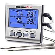ThermoPro TP17 Thermomètre pour Viande Numérique à Double Sonde avec Grand Écran LCD Rétroéclairé Thermomètre de Cuisson Barbecue Grill Four Cuisine Fumoir avec Minuteur