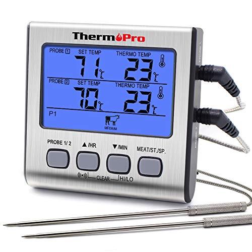 【Impostazione Manuale Pre-programmata o Personalizzabile della Temperatura per Due Sonde】: Il termometro per griglia a doppia sonda semplifica il monitoraggio della temperatura di due pezzi di carne, o della temperatura della griglia senza scambiare ...