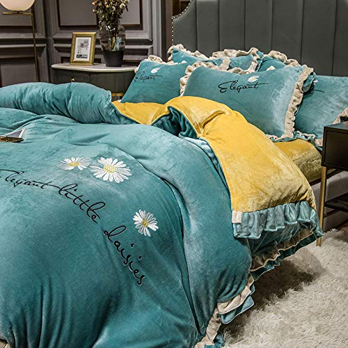 Shinon duvet cover sets king size,Winter princess wind duvet cover thick warmth four-piece bed linen-A_2.0m bed (4 pieces)
