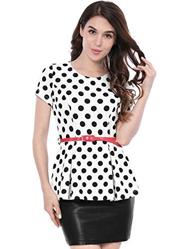 Allegra K Damen Kurzarm Panel Polka Dots Peplum Top Bluse mit Gürtel Weiß L