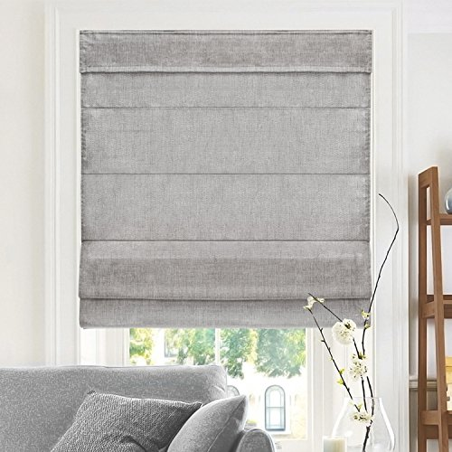 CHICOLOGY, Belgian Denim Cordless Roman Shades, 33' W X 64' H, (Privacy & Light Filtering)