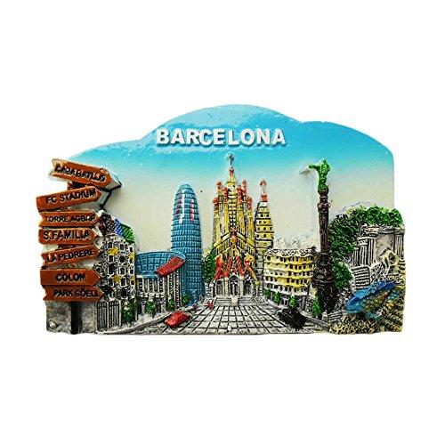 wedaredai 3D Barcelona Spanien Kühlschrank Magnet Travel Souvenir Aufkleber, Spanien Handarbeit Home und Küche Dekoration Kühlschrank Magnet
