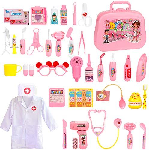 EXTSUD 42 Teiliges Arztkoffer Medizinisches Spielzeug Doktor Set mit Arztkittel Doktorkoffer Rollenspiele Lernspielzeug als Arzt Krankenschwester Zahnarzt Geschenke für Kinder Mädchen (Rosa)