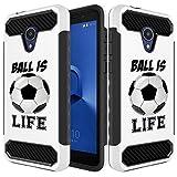 Inkmodo Schutzhülle für Alcatel 1X Evolve / 5059 (einzigartig, doppellagig, stoßfest, Hybrid-Hülle (PC + TPU) – Fußballball is Life Zitat Mädchen Teenager Design Bedruckt mit...