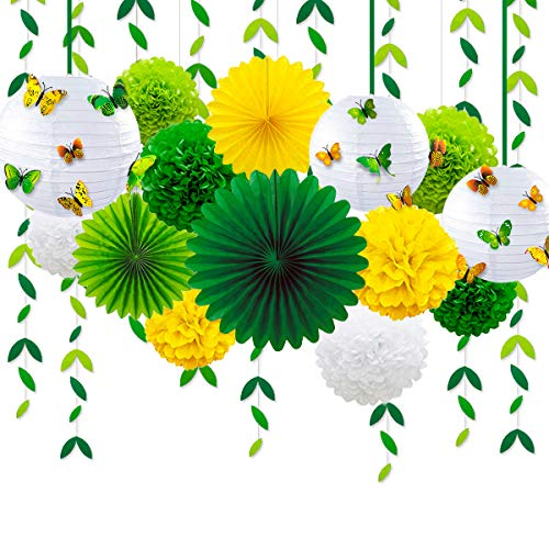Spring Yellow Green Party Decoration Kit Hanging Paper Fans Lanterns Pom Pom Flowers with 3D Butterfly Green Leaves Garland for Birthday Wedding Engagement Baby Shower Theme Party Decorations Supplies