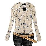 Damen Bluse, GJKK Damen Mode Elegant Vogel Gedruckt Chiffon Bluse Langarm Casual Slim Shirts Oberteil Casual Tunika Langarmshirt Tops (A, M)