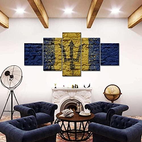 ARIE 5 Teiliges Wandbild Barbados-Flagge Mit Ziegelstruktur Hd Gedruckt 5 Stücke Leinwand Malerei Wandkunst Wohnzimmer Weihnachten Geschenke Wohnkultur