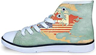 Wanderlust Decor Comfortable High Top Canvas Shoes,Scenic Summer View of The Old Town with Elbe River Embankment in Dresden Germany for Boys,EU29