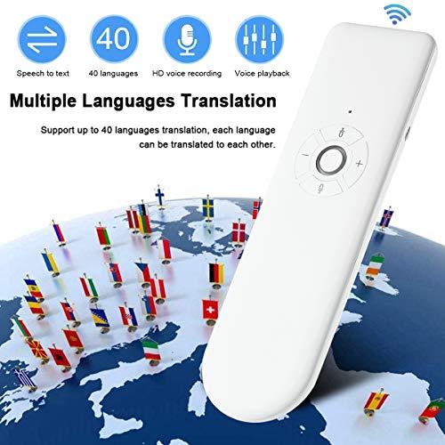Roebii Traductor de Voz Inteligente, Smart Languages Translator WiFi, portátil,en Tiempo Real, traductor de Voz en múltiples Idiomas, Soporte 40 Idiomas para reuniones, Viajes o Estudios