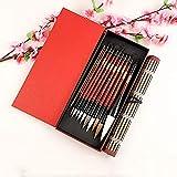 Cepillo de escritura de pintura de estilo claborado acuarela de cepillo de caligrafía china Kanji Japonés Sumi Pintura Dibujo Pinceles Set + Roll-Up Soporte de cepillo de bambú pinceles tinta china TN