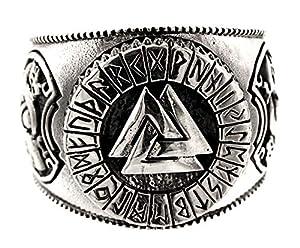 Kiss of Leather Ring Wotansknoten Valknut aus 925 Sterling Silber, Gr. 52-74