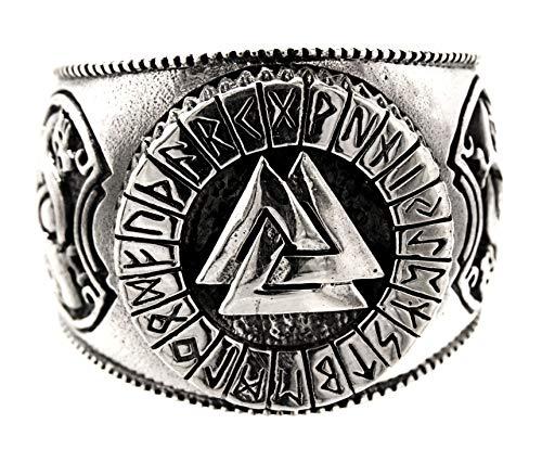 Kiss of Leather Ring Wotansknoten Valknut aus 925 Sterling Silber, Gr. 52-74 (60 (19.1))