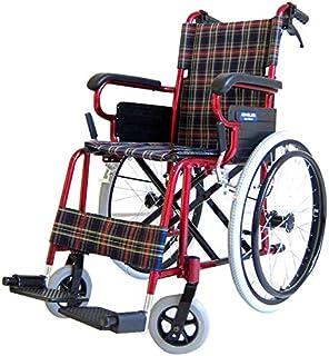 圧倒的な女性支持を集めています!ラズベリー 自走式 アルミ 車椅子 ノーパンクタイヤ コンパクト 折りたたみ式 超軽量 介助用としても!【B110-ARB】 カドクラ