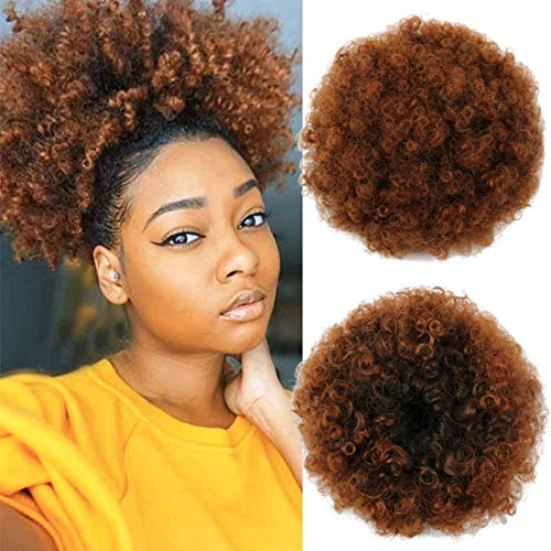 Large High Puff Afro Ponytail Kinky Curly Synthetic Drawstring Ponytail Extension Updo Hair Bun Made of Kanekalon Fiber with Clips