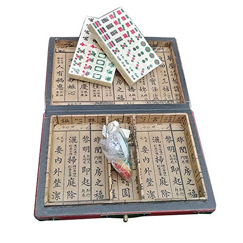 GHKT Chinesisches digitales Mahjong-Set Tragbar mit Deluxe Retro-Stil-Box für Home Party Mini Mahjong Set Familienspiele. (Color : White, Size : 1.7x1.1x0.7cm)