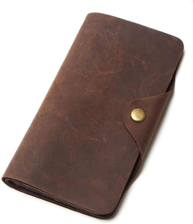 Surson Men's Wallet, Retro Leather, European and American Long, 80 Percent Off Zipper Buckle Wallet, Dark Brown.