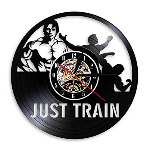 mazhant Arte de Pared Gym Reloj de Pared Muscle Man Weighting Vinyl Record Reloj de Pared Fitness Center Reloj Decorativo