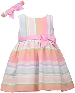 Bonnie Jean Baby Girl's Spring Easter Dress with Headbad - Pastel Stripe