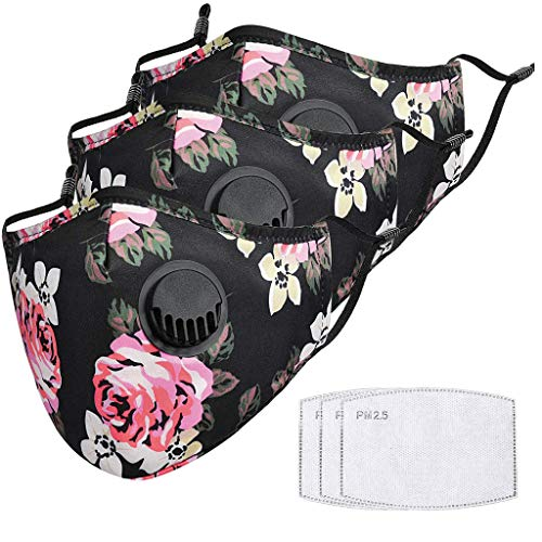 3 Pack Floral Printed Face Madks with Adjustable Ear Loops, Breathable Mouth Scarf Anti-Dust Facial Fabric Cover for Ski Running Cycling Face Balaclava (Black)