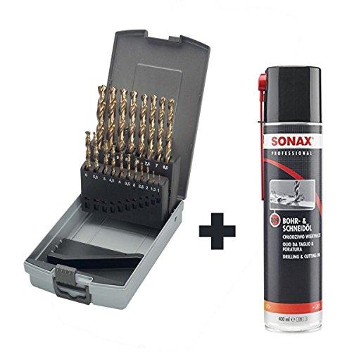 KEIL 307 501 110 Metallbohrersortiment HSS-E DIN 338 Cobalt, geschliffen, Split Point, 19-teilig Ø 1,0-10,0 mm um 0,5 mm steigend, in RoseBox plus Sonax Professional Bohr- und Schneidöl, 400ml