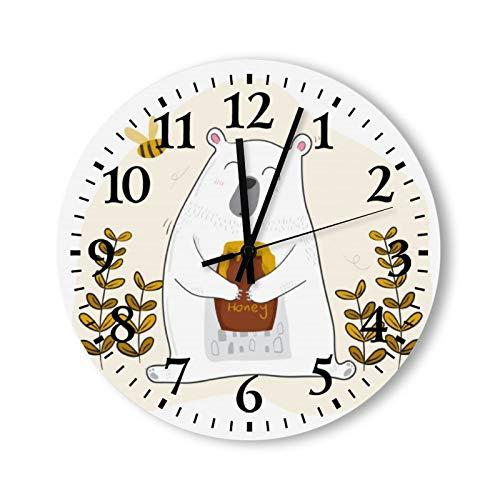 DKISEE Reloj de pared redondo decorativo de cuarzo silencioso sin garrapatas – bonito oso blanco que tiene miel con pequeña abeja de madera, para dormitorio, sala de estar, hogar, 30,5 x 30,5 cm