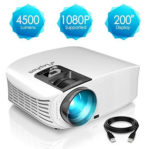 Proyector HD, ELEPHAS 1080P LCD Video proyector Full HD con 4500 lúmenes, Cine en casa...