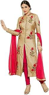 DHARMEE Women's Cotton Dress Material(Mastani Cream Dress_Gold_Free Size)