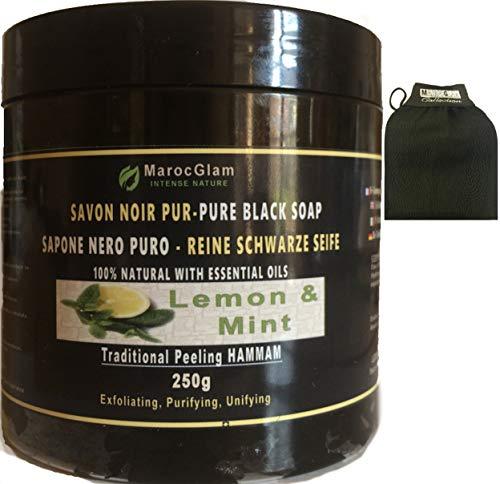 Savon Noir Gommage 250g + Gant kessa OFFERT_Huile d'Olive BIO enrichi aux huiles essentielles menthe et citron, gommage rafraichissant Hammam et SPA: Exfoliant - Purifiant- hydratant MAROC GLAM