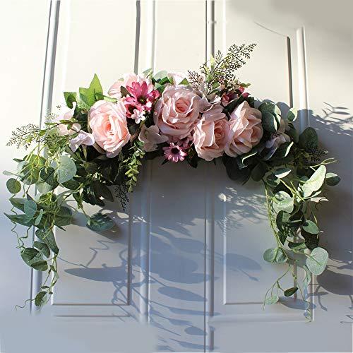 Kslogin Artificial Flower Peony Handmade Crown Garland Mirror Home Wedding Party Decoration