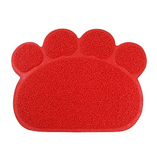 Haustier Katzenstreu Box Mat,KINGCOO Wasserdichte Elastische PVC Paw Shaped Katzentoilette Vorleger Wurf Trapper Decke Mat Für Katzen Hund,45 x 60CM (Rot)