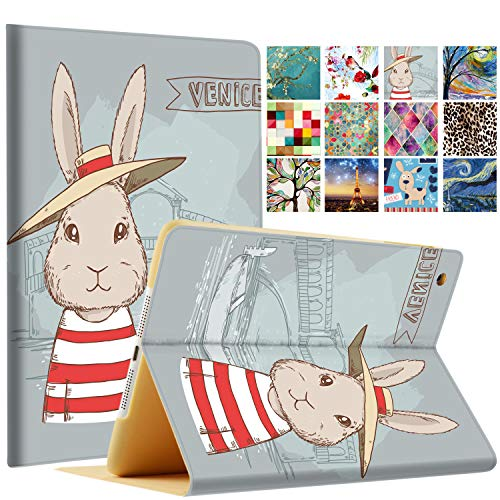 DuraSafe Cases for iPad PRO 9.7 Inch 2016 [ A1673 A1674 A1675 ] Printed Smart Cover Slim Folio, Auto Sleep/Wake - Bunny Hat