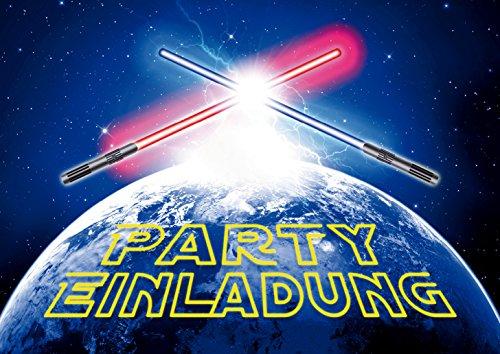 10 LICHTSCHWERTER-EINLADUNGEN: Einladungskarten im Stile von Star Wars zum Kindergeburtstag von EDITION COLIBRI (10792)