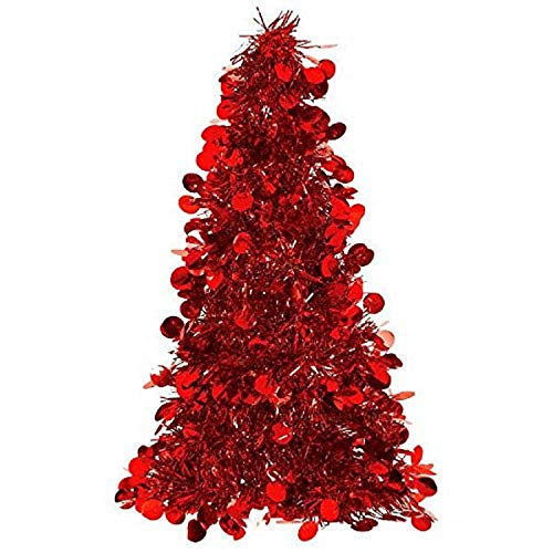 """Amscan Christmas Centerpiece Small Tree, 10"""", Tinsel, Red"""