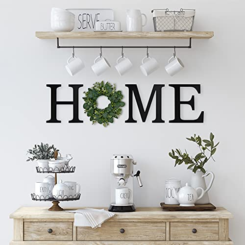 Wooden Home Letters with Wreath for Wall, Large Home Letters Cutouts, Farmhouse Home Sign with Wreath, Home Wall Decor Letters, Wooden Home Signs for Home Decor, Large Letter Signs Home Decor (Black)