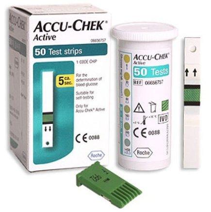 Accu Chek tiras de prueba de activo 50hojas diabéticos SIDA sangre salud hematocrito