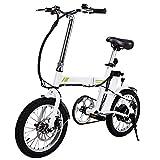 Befied 16inch Mini Vélo Pliante Électrique Léger Bike de Ville Chargé 200 Livres, 250W Moteur Brushless, 36V 6AH Batterie Lithium-ION, Charge de l'interface USB, électrique (Blanc)