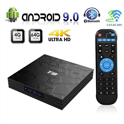 Android 9.0 TV Box, T9 Android TV Box 4GB RAM 64GB ROM RK3328 Quad-core 64 Bits Set Top Box Support 4K 3D 2.4Ghz/5Ghz Dual WiFi, BT 4.0 Support, USB 3.0 H.265 HDMI Output Ultra HD Media Player